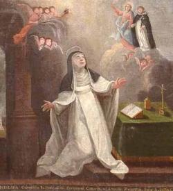Błogosławiona Bronisława ogląda wejście św. Jacka do nieba