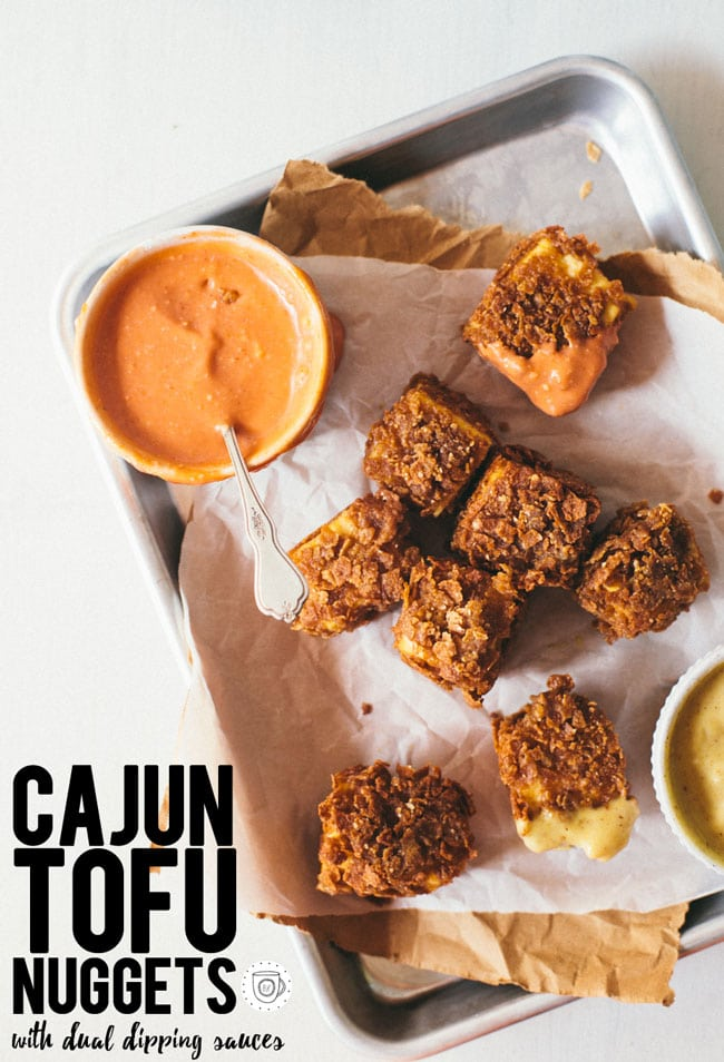 "cajun tofu nuggets with health-ified honey mustard and chipotle ""mayo"""