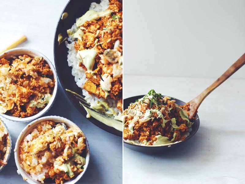 "Friendship Friday : ""Family Style"" Korean BBQ Tofu & Sticky Rice with a Garlic-Avocado Aioli (v/gf) ||| Brewing Happiness"