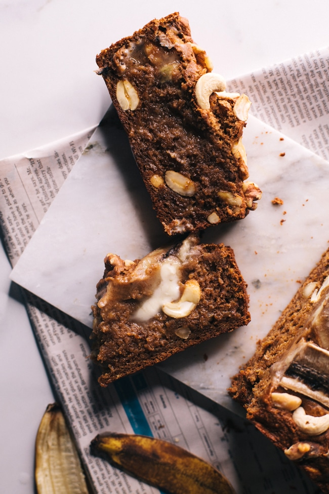 1 bowl banana bread with chai spices and nuts inside!
