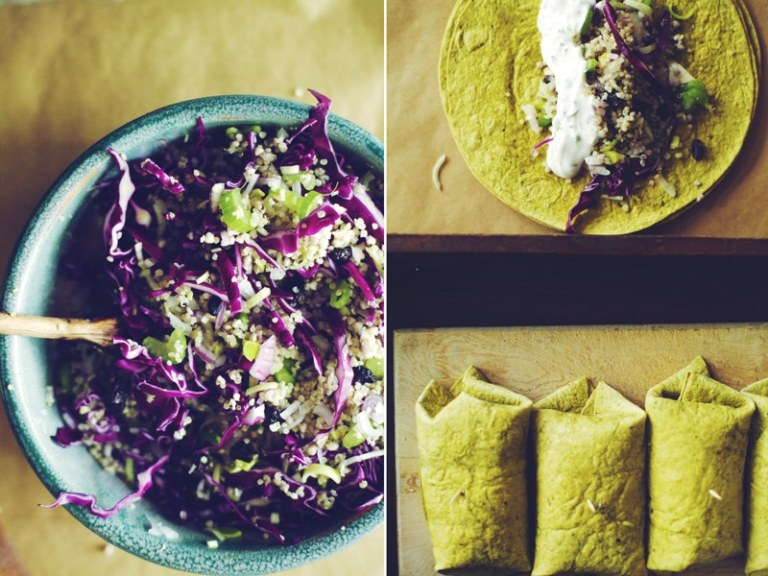 Crunchy Quinoa and Cabbage Salad Wrap