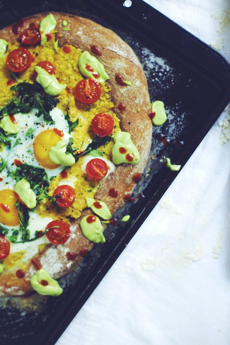 Polenta & Baked Egg Breakfast Pizza