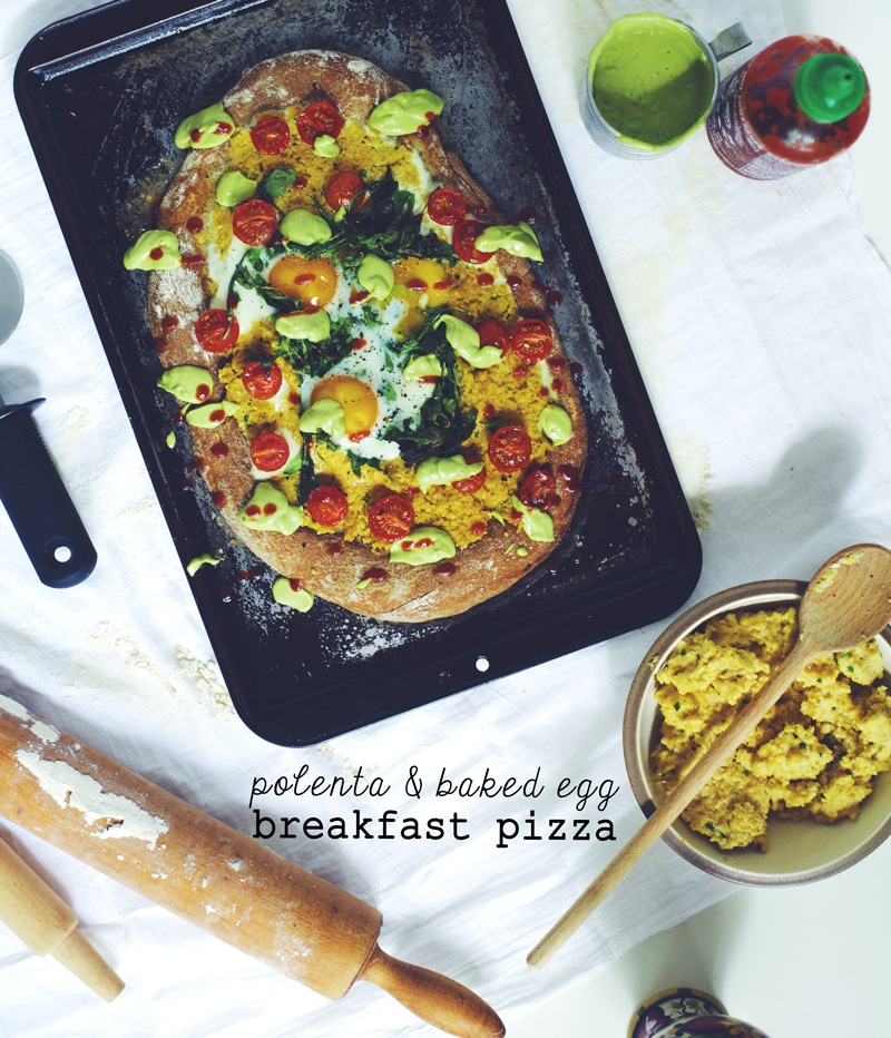 Polenta and Baked Egg Breakfast Pizza
