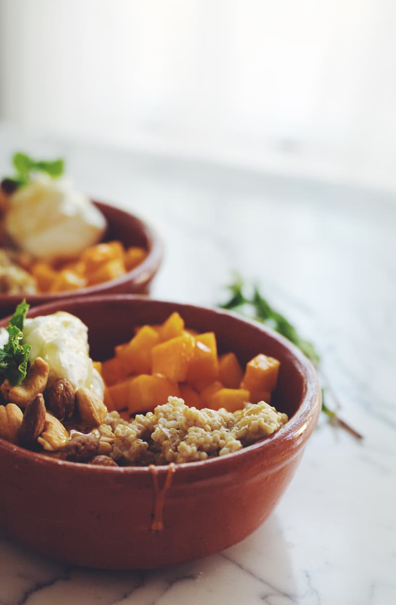 Sweet Quinoa Breakfast Bowl with Moroccan Spiced Melon