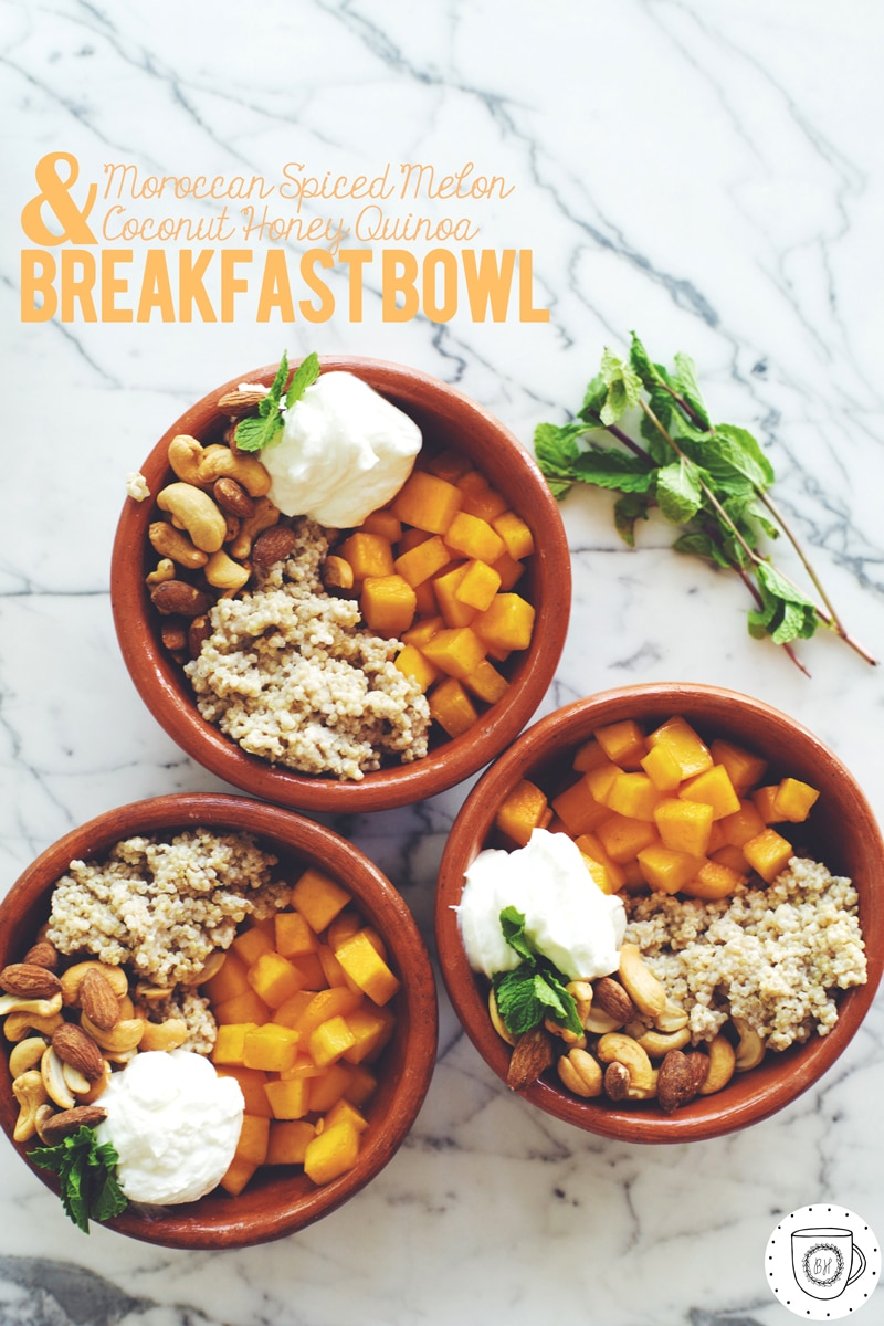 Moroccan-Spiced Melon and Coconut-Honey Quinoa Breakfast Bowl