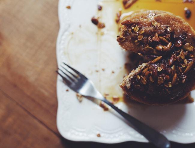 savory granola pancakes with date-caramel