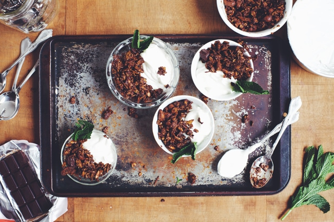 dark chocolate and mint breakfast parfait