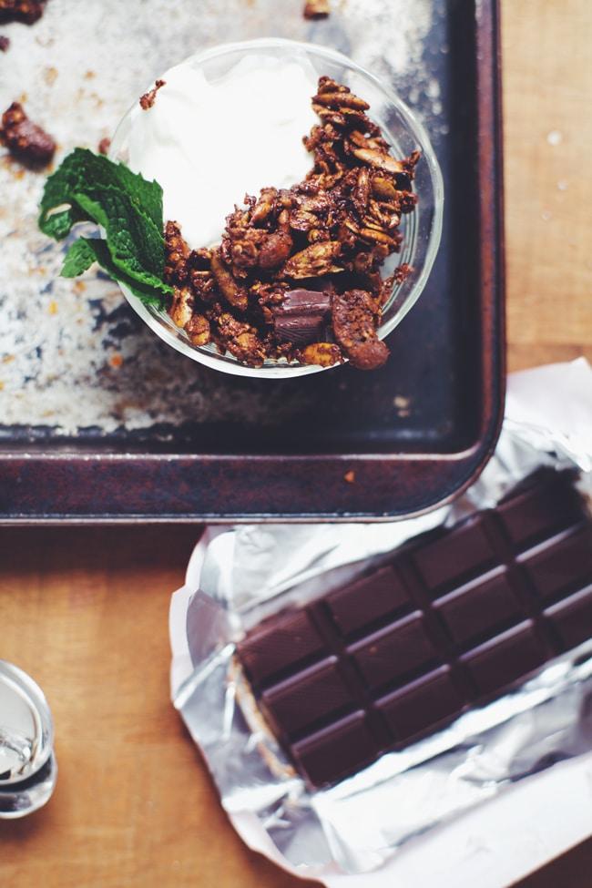 mint chocolate granola and yogurt bowl