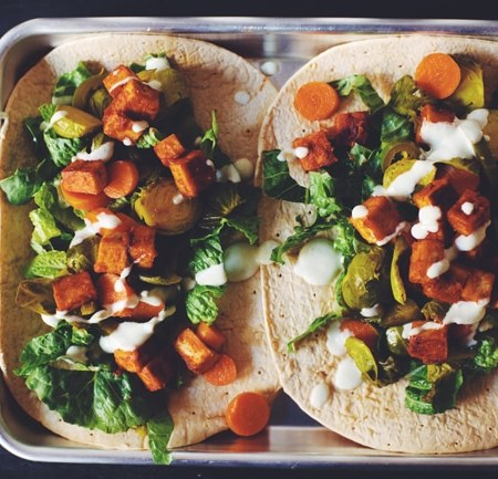 #vegan bbq tofu dinner wrap