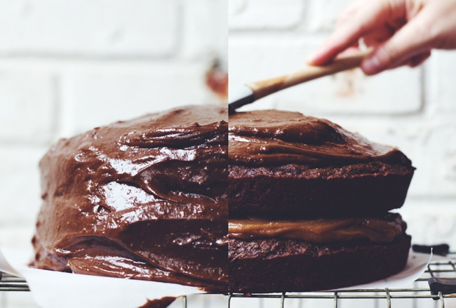 Double layer chocolate cake with salted date caramel filling and chocolate buttercream