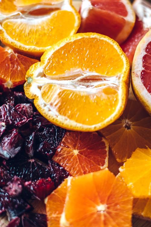 blood oranges, grapefruits, cara cara oranges, and tangelos all cut up