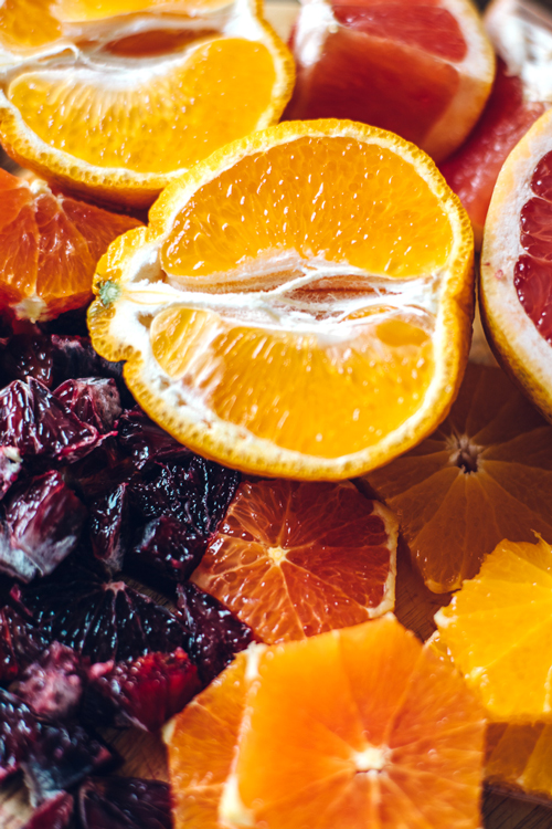 blood oranges, grapefruits, cara cara oranges, and tangelos all cut up