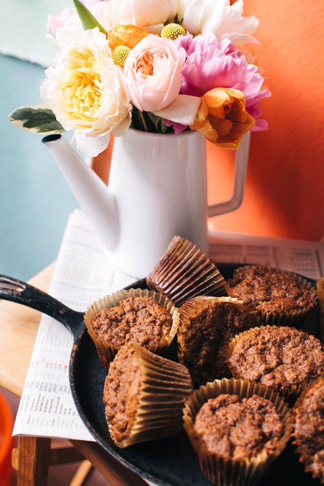 chai tea + pear muffins