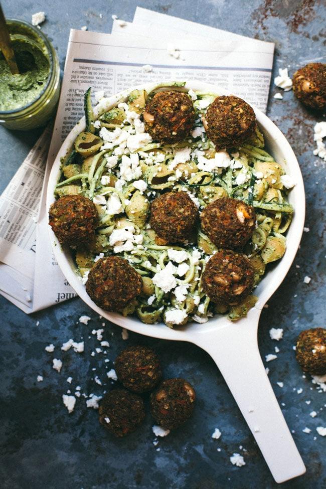 veggie meatballs with pesto pasta