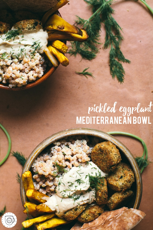 a delicious bowl with couscous, hummus, faux-lafel, pickled eggplant and pita