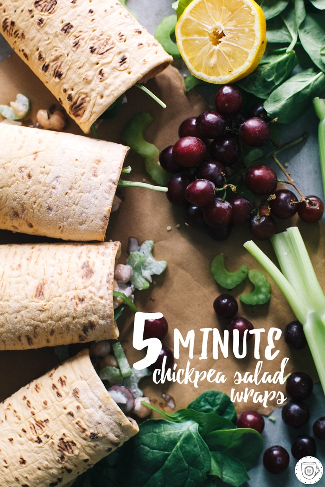 Chickpea Salad lunch wraps made with FlatOut Bread!