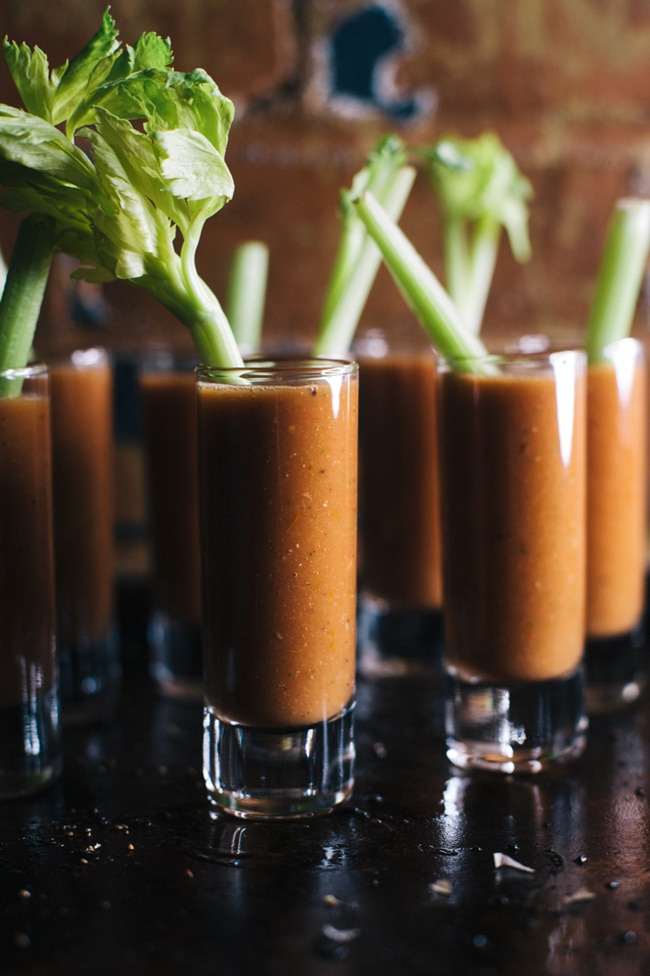 roasted tomato bloody mary gazpacho shooters