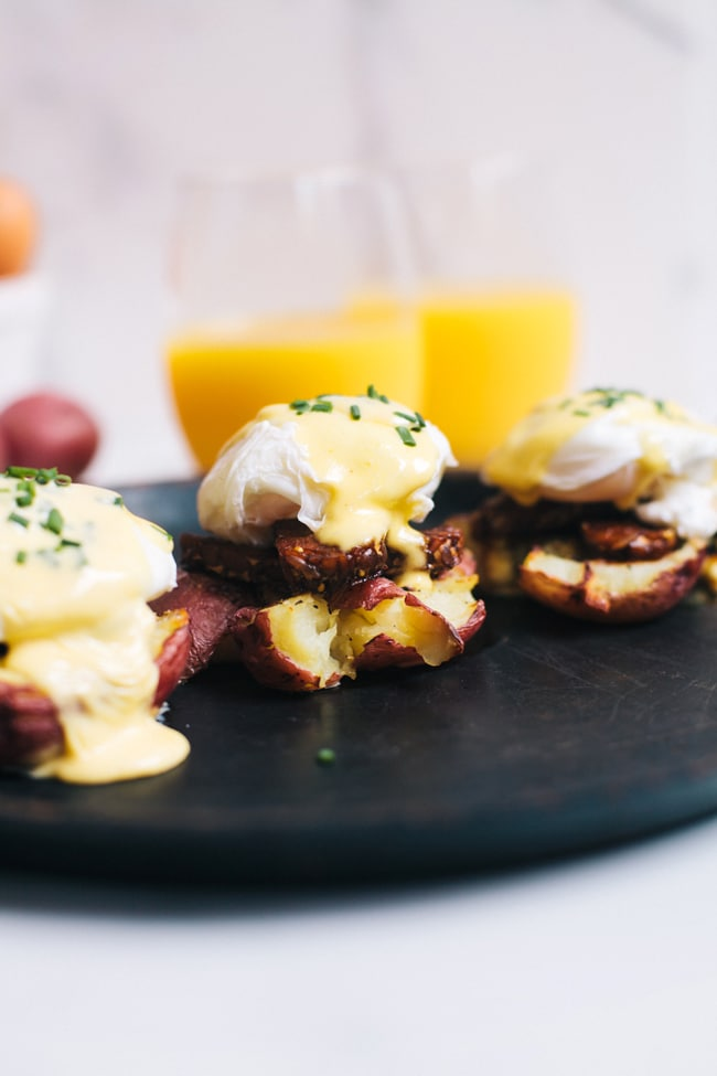 smashed potatoes and smokey tempeh eggs Benedict with 3 minute hollandaise sauce