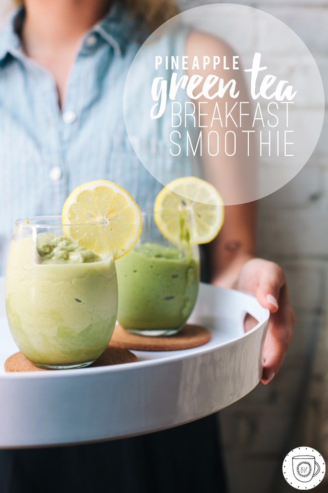 breakfast smoothie made with green tea powder