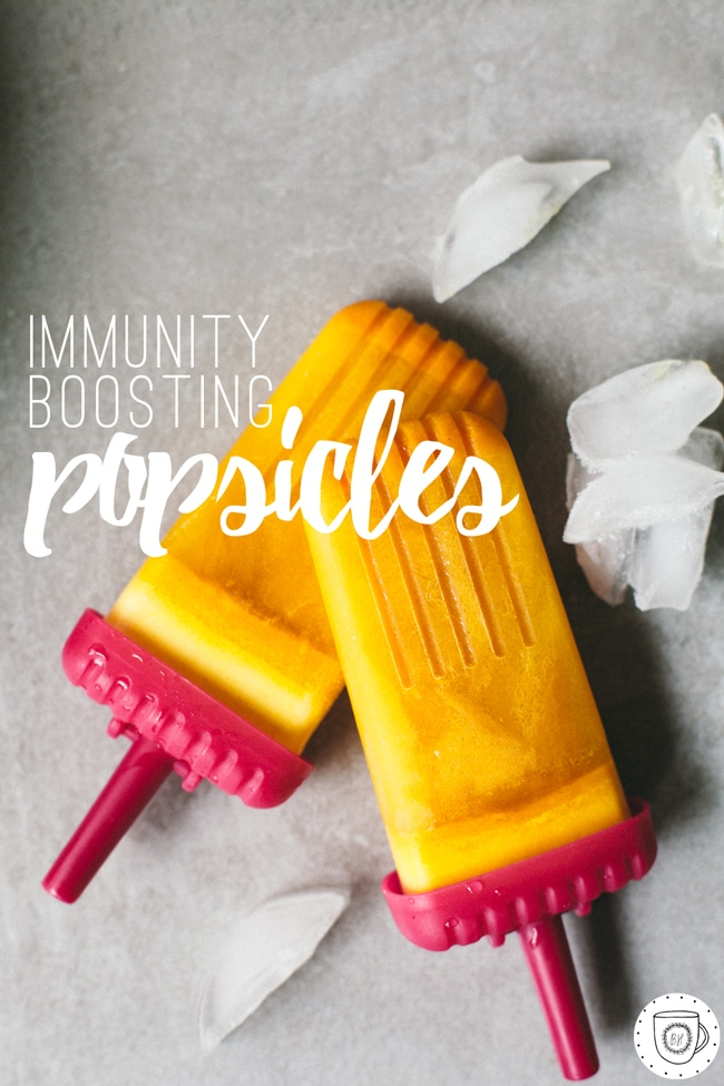popsicles for immunity with apple, ginger, lemon, turmeric and honey!