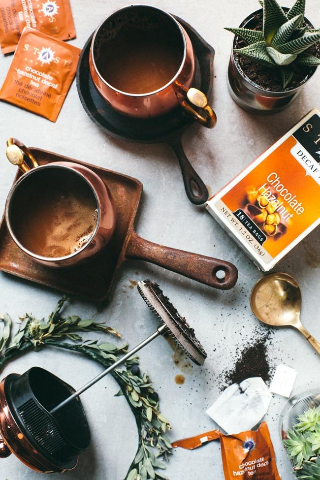 Easy Hazelnut Chocolate French Press Latte made with Stash Tea Chocolate Hazelnut Decaf Tea!