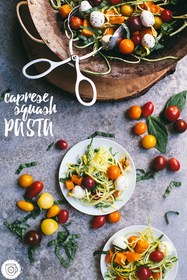 the best summer to fall caprese squash pasta with butternut squash and squash noodles! #celebratehealthier