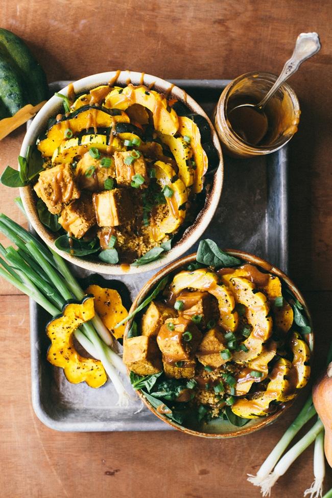 Crispy Tofu & Roasted Squash Autumn Bowl | Brewing Happiness