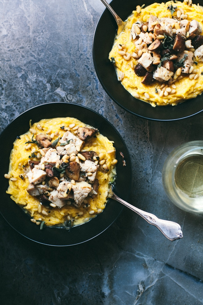 Chicken & Mushroom Spaghetti Squash Pasta with Sweet Potato Sauce | Brewing Happiness