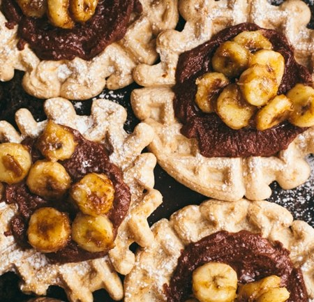 Healthy Waffles and Nutella with Caramelized Bananas | Brewing Happiness