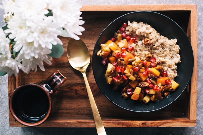 Winter Superfood Oats with apples, persimmons, and pomegranates   Brewing Happiness