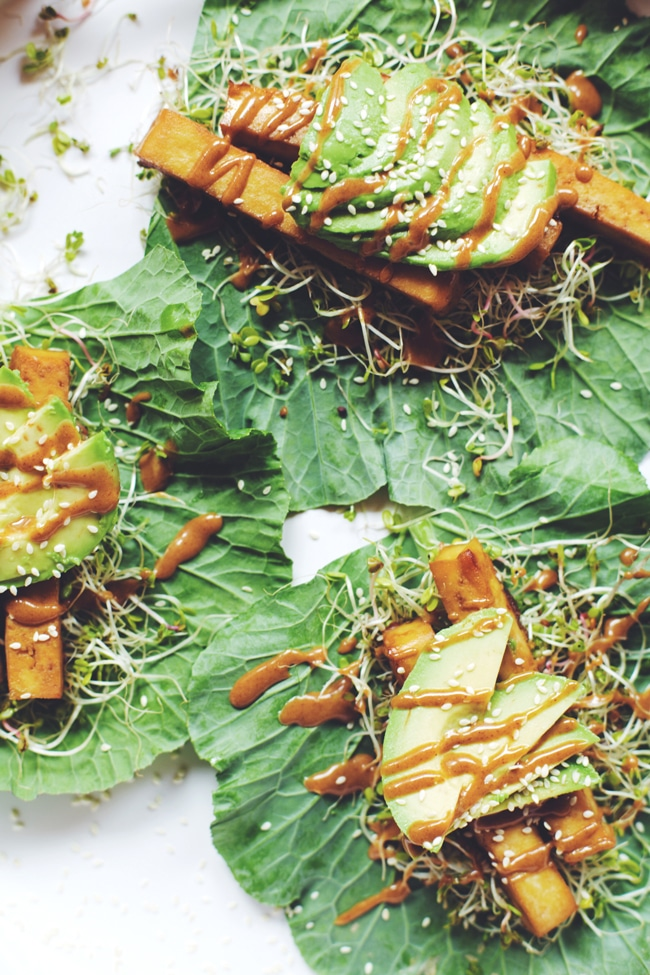 Crispy Orange Tofu Collard Wraps
