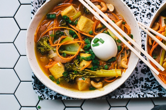 Carrot-Noodle Vegetarian Ramen | Brewing Happiness