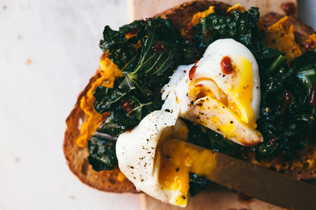 White Bean & Wilted Kale Toast | Brewing Happiness