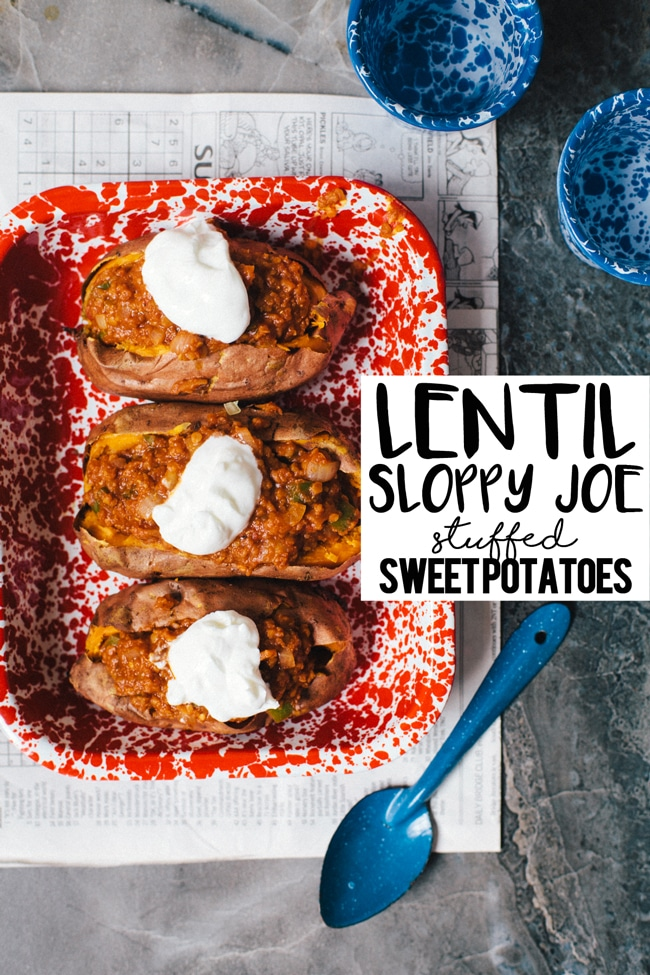 Lentil Sloppy Joe Stuffed Sweet Potatoes | Brewing Happiness