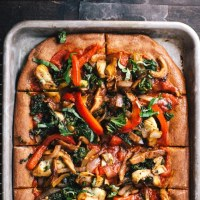 Roasted Veggie Cheeseless Pizza | Brewing Happiness