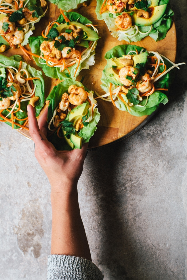 Sweet Thai Chili Lettuce Wraps   Brewing Happiness