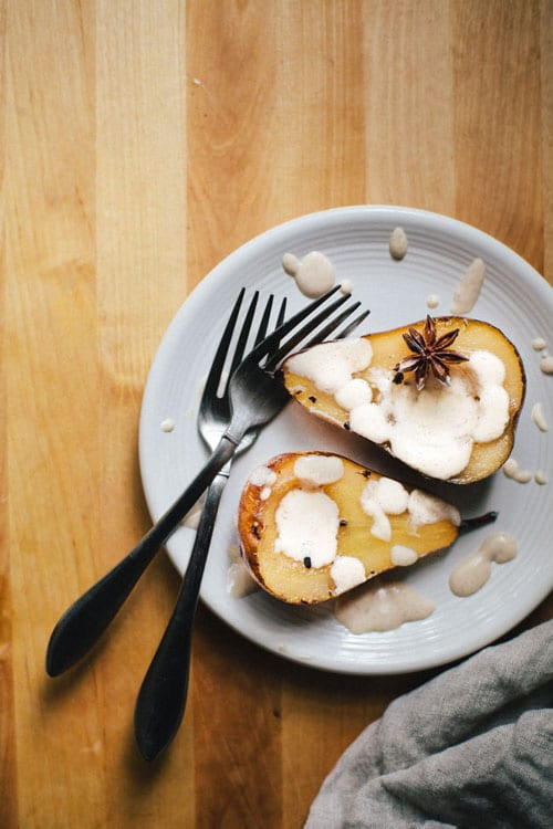 Chai Poached Pears with Cinnamon-Ginger Yogurt Sauce + Sweet & Simple Cookbook | Brewing Happiness