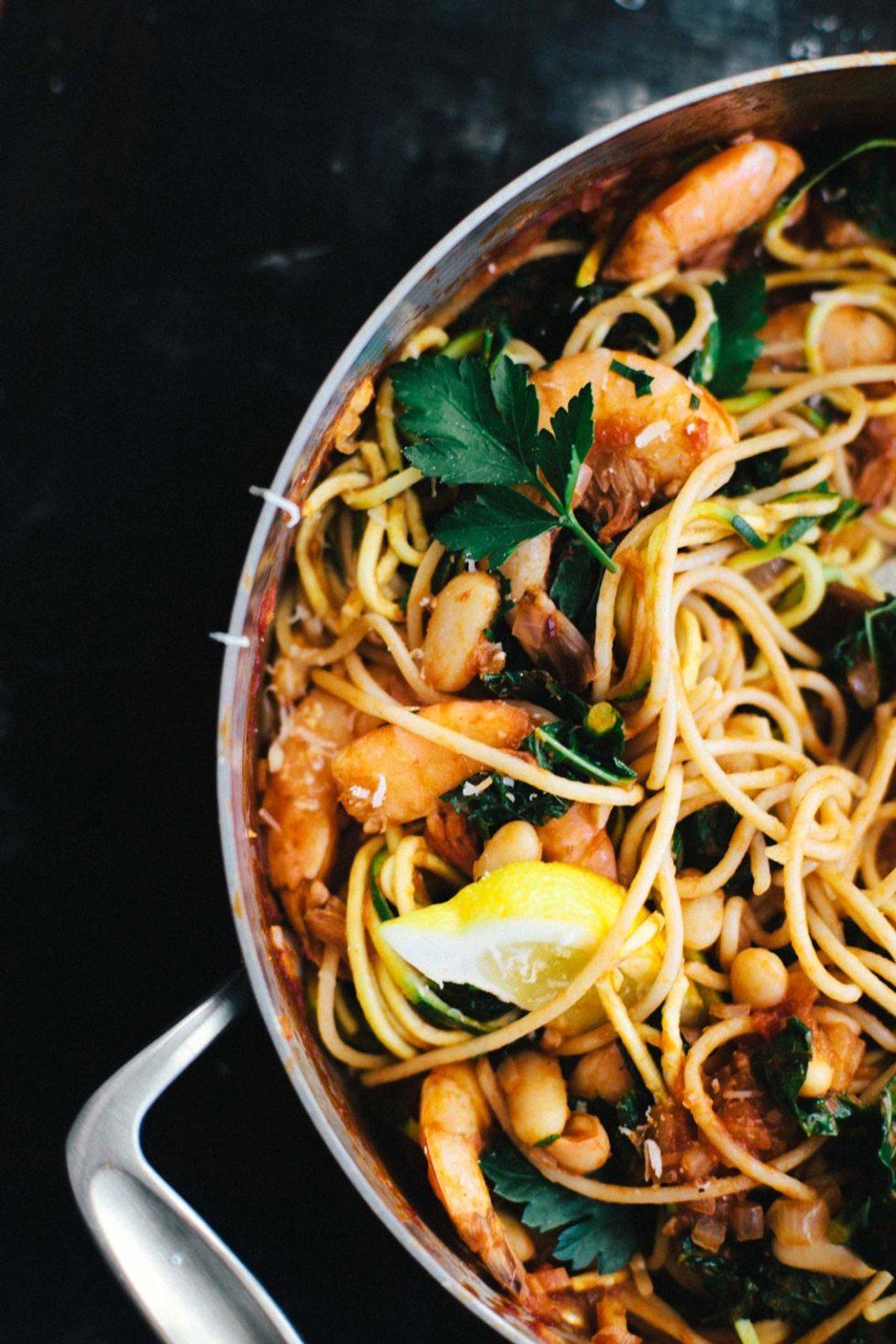 White Bean & Shrimp Linguine   Brewing Happiness