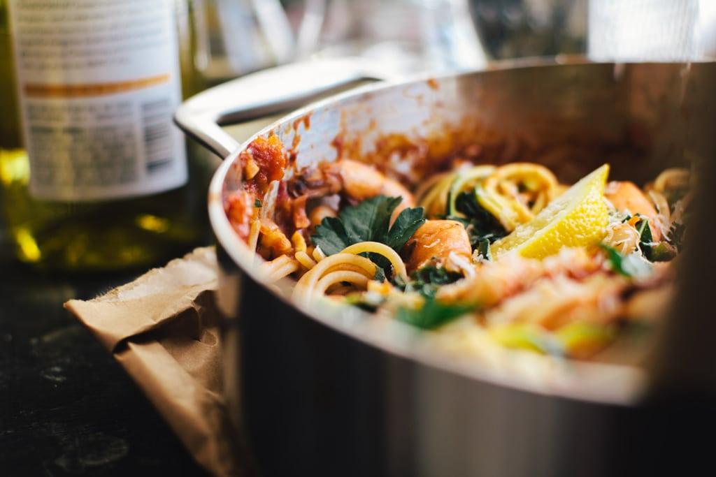 White Bean & Shrimp Linguine | Brewing Happiness