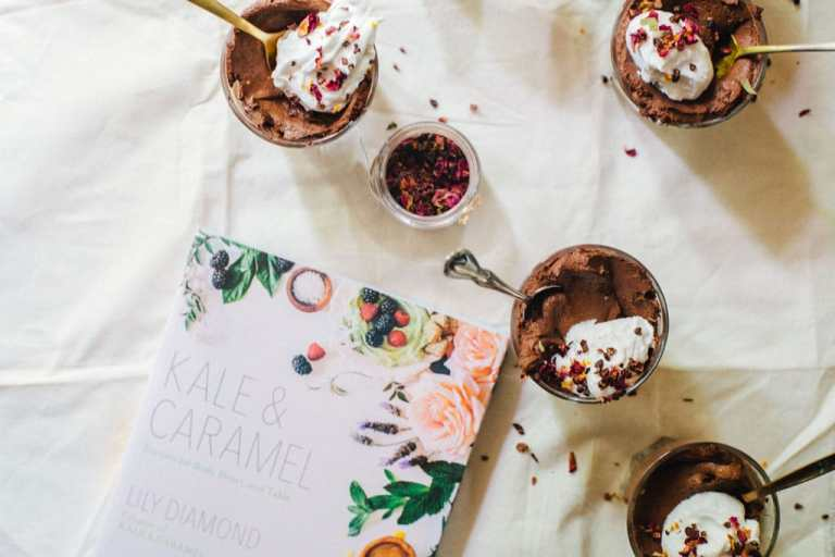 Chocolate Chia Mousse with Cardamom Rose Coco Whip + Kale & Caramel Cookbook