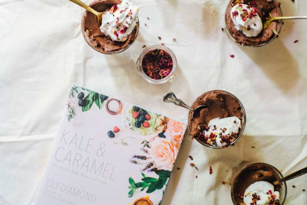 Chocolate Chia Mousse with Cardamom Rose Coco Whip (vegan) + Kale & Caramel Cookbook | Brewing Happiness