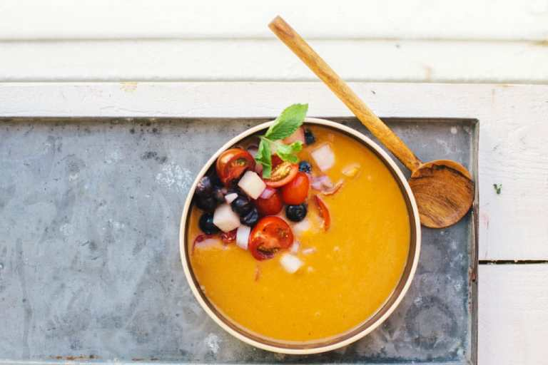 Tomato Watermelon Gazpacho | Brewing Happiness