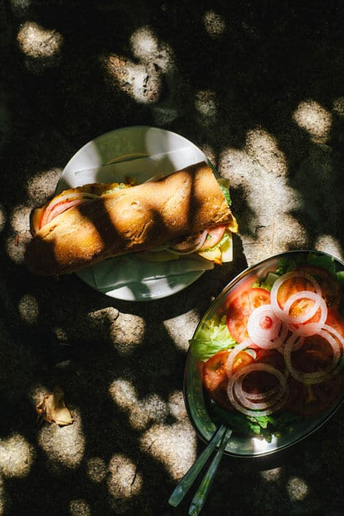A large sandwich and a large salad on white plates, covered by dappled sunlight.