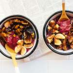 Blackberry Acai Frozen Yogurt with Olive Oil Granola Crumble | Brewing Happiness