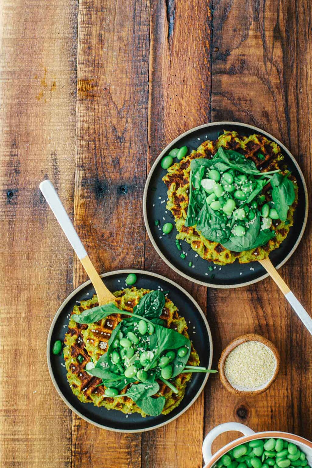 These Asian-flavored Edamame Falafel Waffles are healthy, vegan and super easy to make! No need to use all that oil to make fluffy, crispy falafel - these come together in just 7 minutes in a waffle iron.