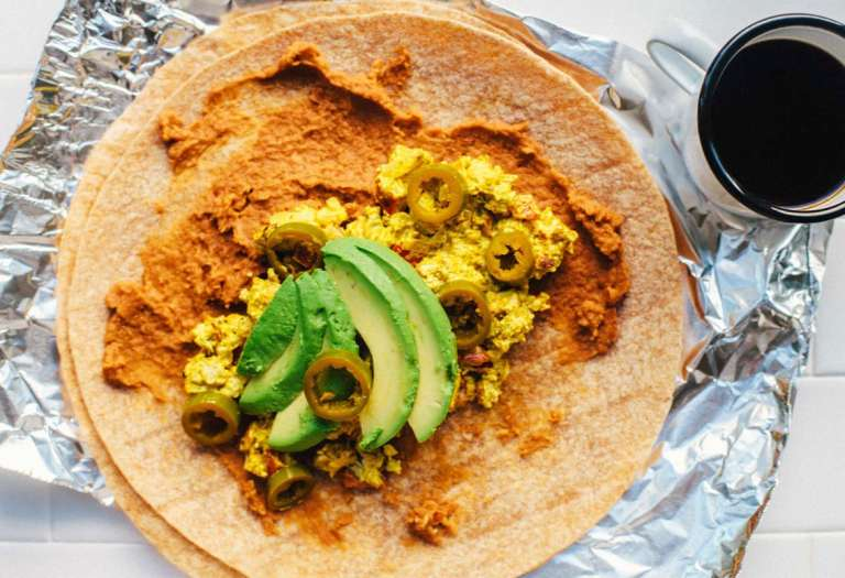 Tofu Scramble Breakfast Burrito | Brewing Happiness