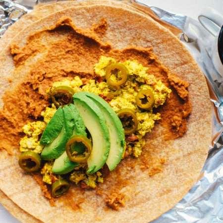 Tofu Scramble Breakfast Burrito | Brewing Happiness
