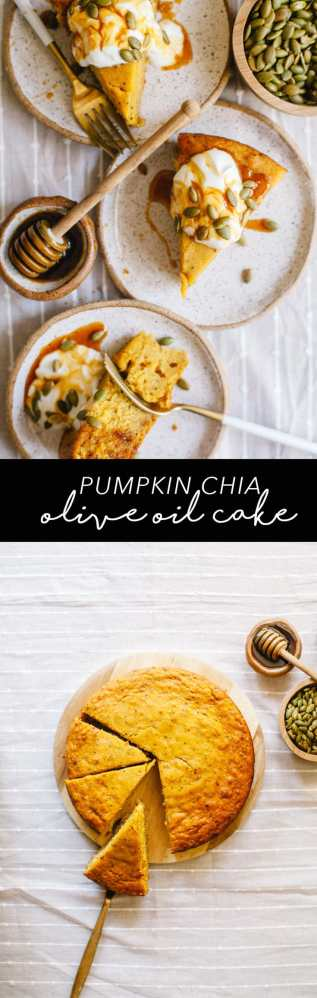 This healthy Pumpkin Chia Olive Oil cake is naturally sweetened with honey and topped with yogurt and honey drizzle! #pumpkin #oliveoil #cake #recipe #healthy #brewinghappiness