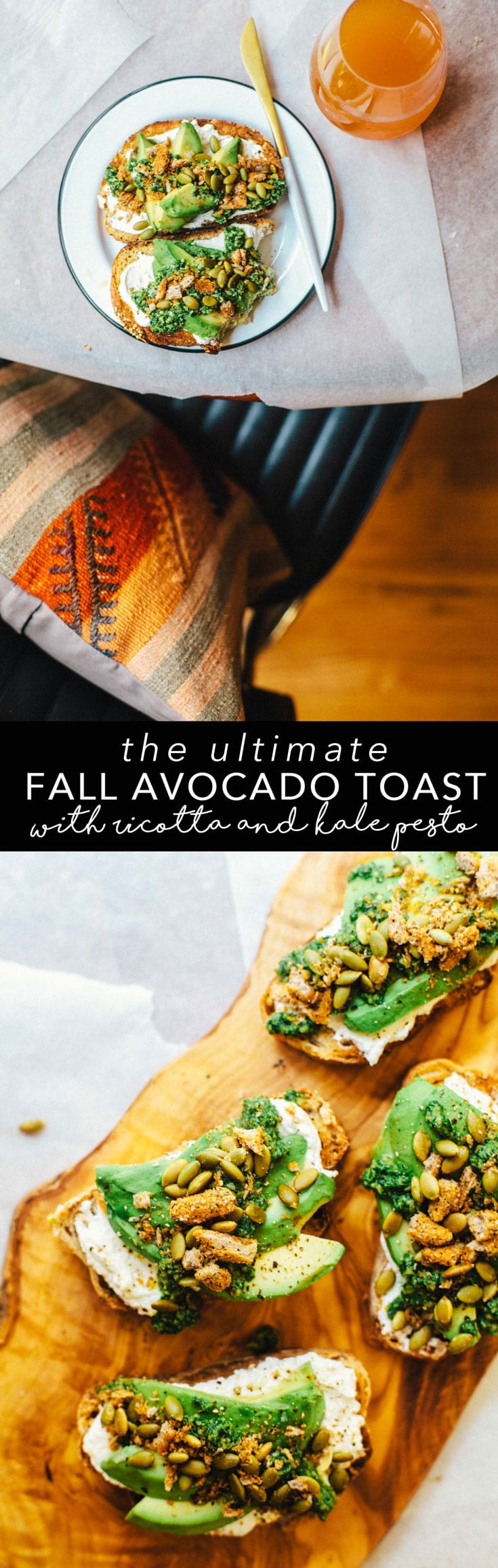 The ultimate Fall Avocado Toast with ricotta, kale pesto, pepitas, and habanero Harvest Snaps. It's great for snack, lunch, or dinner! #brewinghappiness #avocadotoast #recipe #healthy #vegetarian