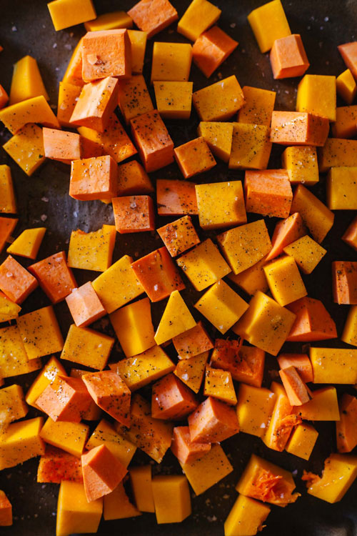 roasted butternut squash and sweet potato